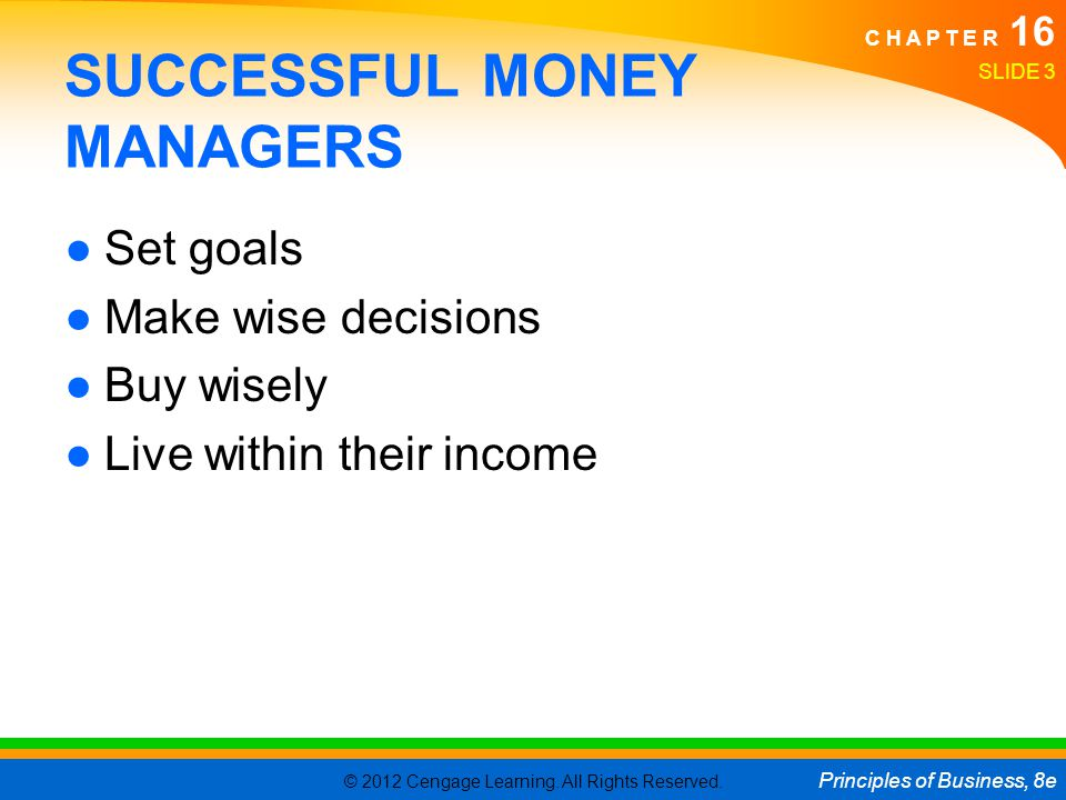 SUCCESSFUL MONEY MANAGERS