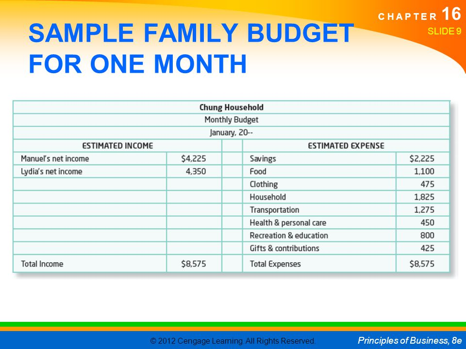 SAMPLE FAMILY BUDGET FOR ONE MONTH