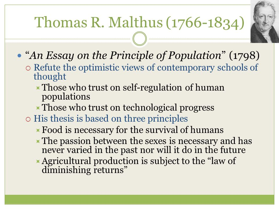 essay on the principle of population thomas malthus summary The principle of population in classical economics: thomas malthus if the principle of utility was one cornerstone of classical economics, the pop­ulation principle.