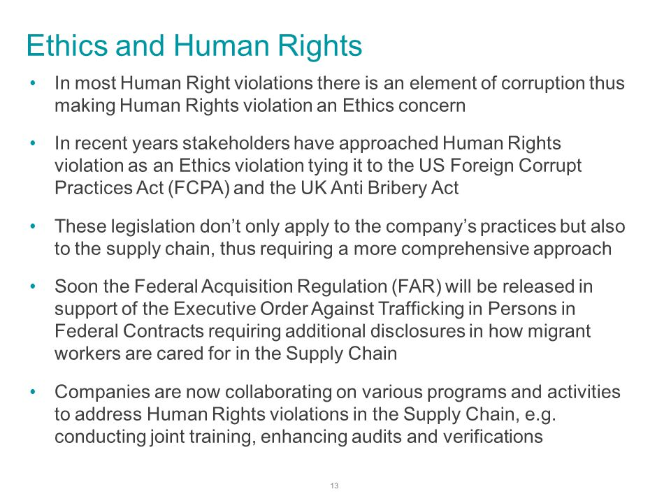 ethics in human trafficking At cisco, labor and human rights are a top priority for us we are committed to treating everyone who works at or with cisco with dignity and respect, and explicitly prohibit human trafficking and the use of involuntary labor within our supply base we are committed to working with industry partners.