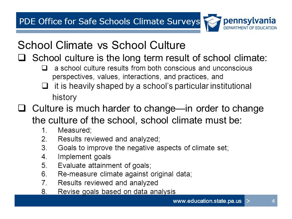 school climate analysis The alliance for the study of school climate (assc) exists to help schools improve the quality of their climate.