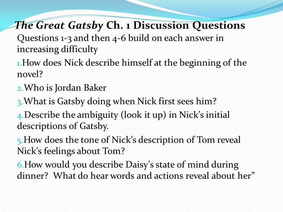 great gatsby essay questions and answers 2018-6-14  get free homework help on f scott fitzgerald's the great gatsby: book summary, chapter summary and analysis, quotes, essays, and character analysis courtesy of cliffsnotes.