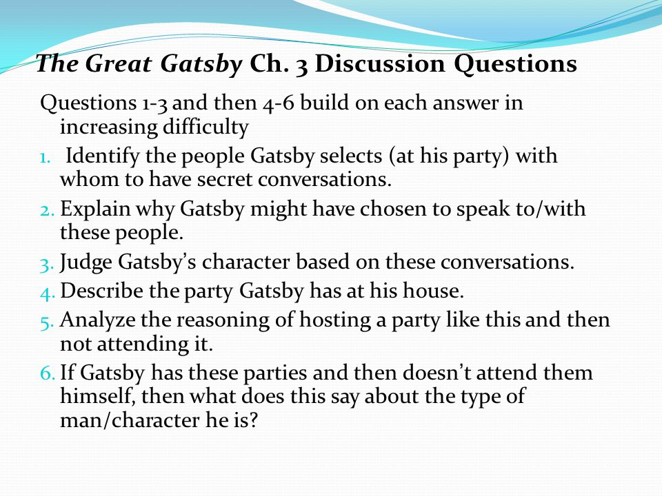The Great Gatsby Synthesis Questions