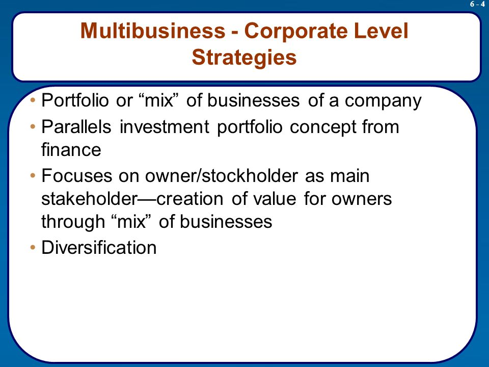 utc corporate level strategy of unrelated diversification Diversification strategies  diversification strategies  diversified companies vary according to two factors: the level of diversification and connection or linkages between and among business units five levels of diversification are listed a.