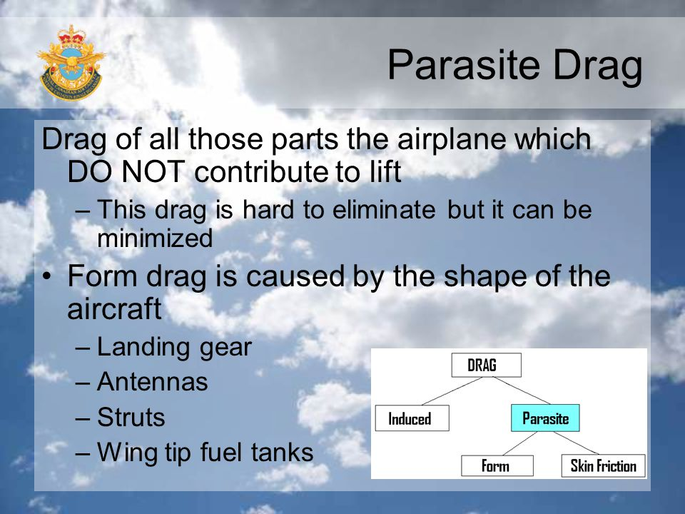 parasitic drag The parasite drag of a typical airplane in the cruise configuration consists  primarily of the skin friction, roughness, and pressure drag of the major  components.