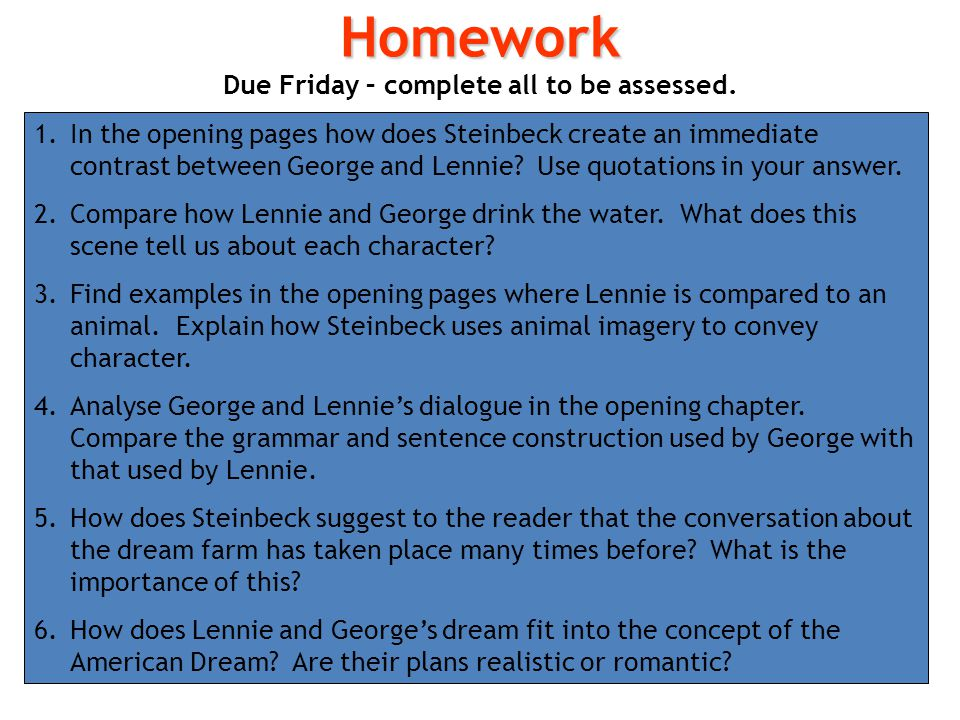 how does steinbeck present lennie and george essay how does steinbeck present curley's wife essay which suggests that she is like an obstacle in george and lennie's way also, steinbeck uses the word.