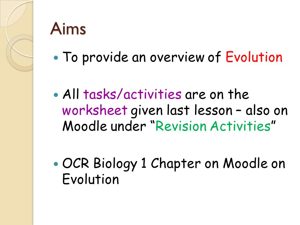 As Biology Unit F212 Module 3 Biodiversity And Evolution Evolution