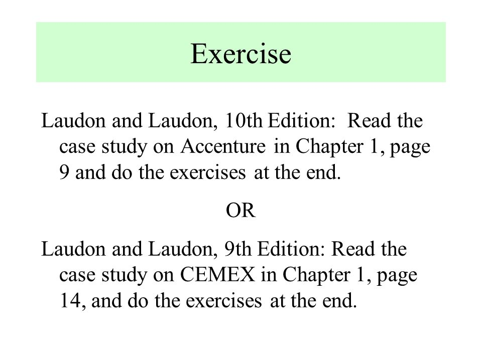 case study of chapter 1 of mis by laudon laudon Essentials of mis, 10th edition by kenneth c laudon, jane p laudon laudon and laudon continue to emphasize how business objectives shape the application of new information systems and technologies chapter 7: securing information systems case 1: ibm zone trusted information channel.