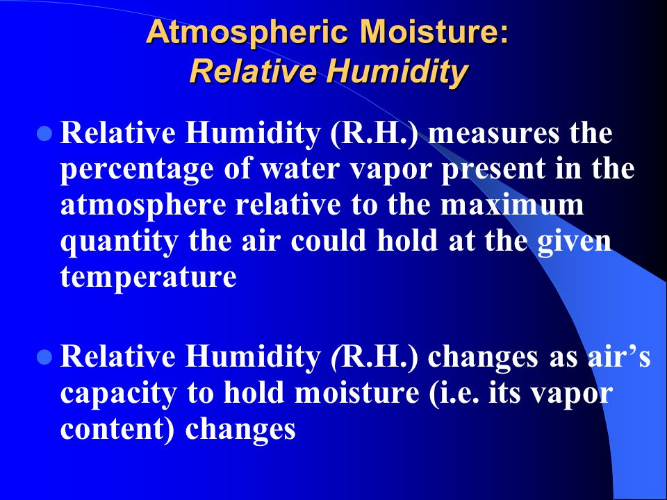 relationship between moisture holding capacity and temperature