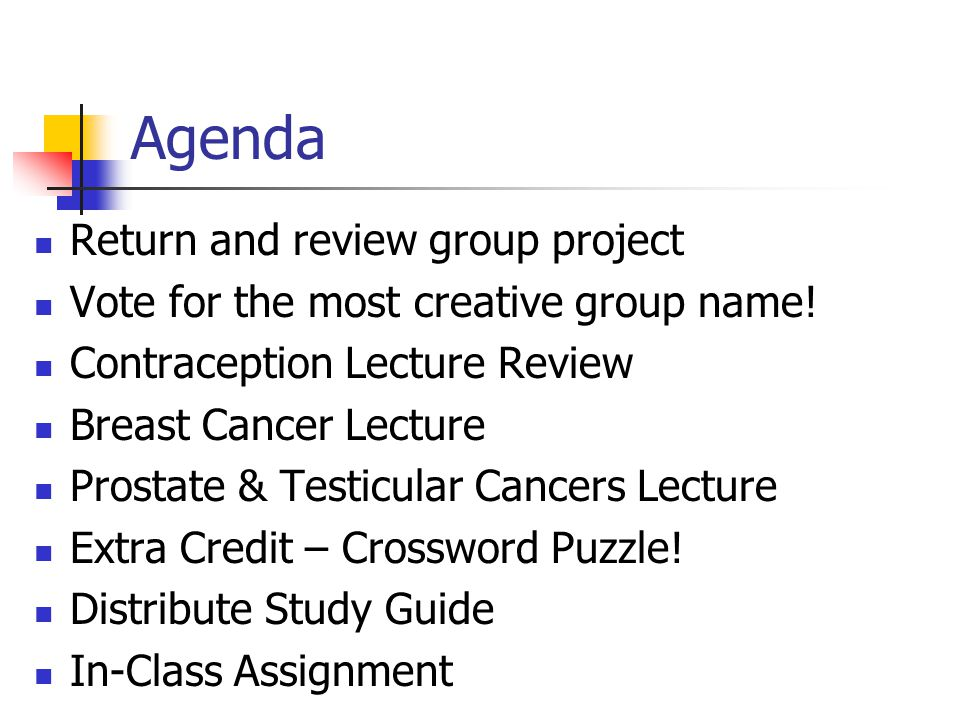 Agenda Return and review group project