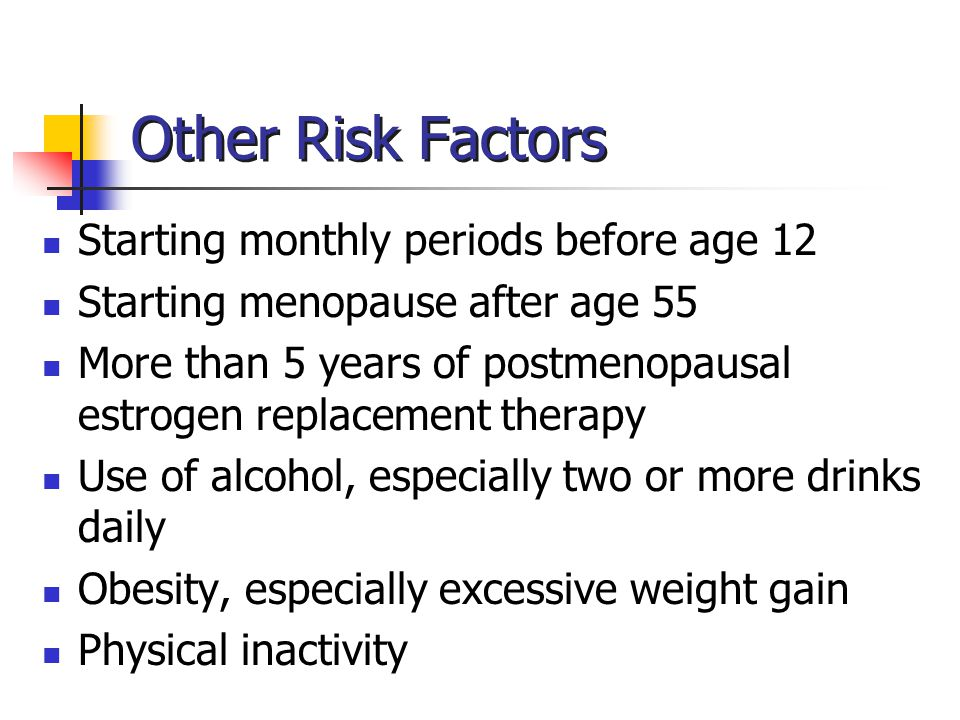 Other Risk Factors Starting monthly periods before age 12