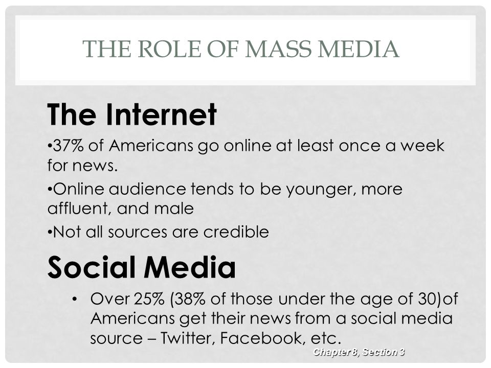 the crucial role of mass media in american society The nature of culture and the role of mass media in a democratic society, as  well as to  this is a definition broad enough to include all major aspects of  culture:  the latest example of this was the way in which the anglo-american  media,.