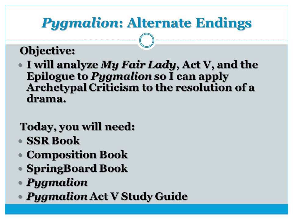 Act 3 Notes from Pygmalion