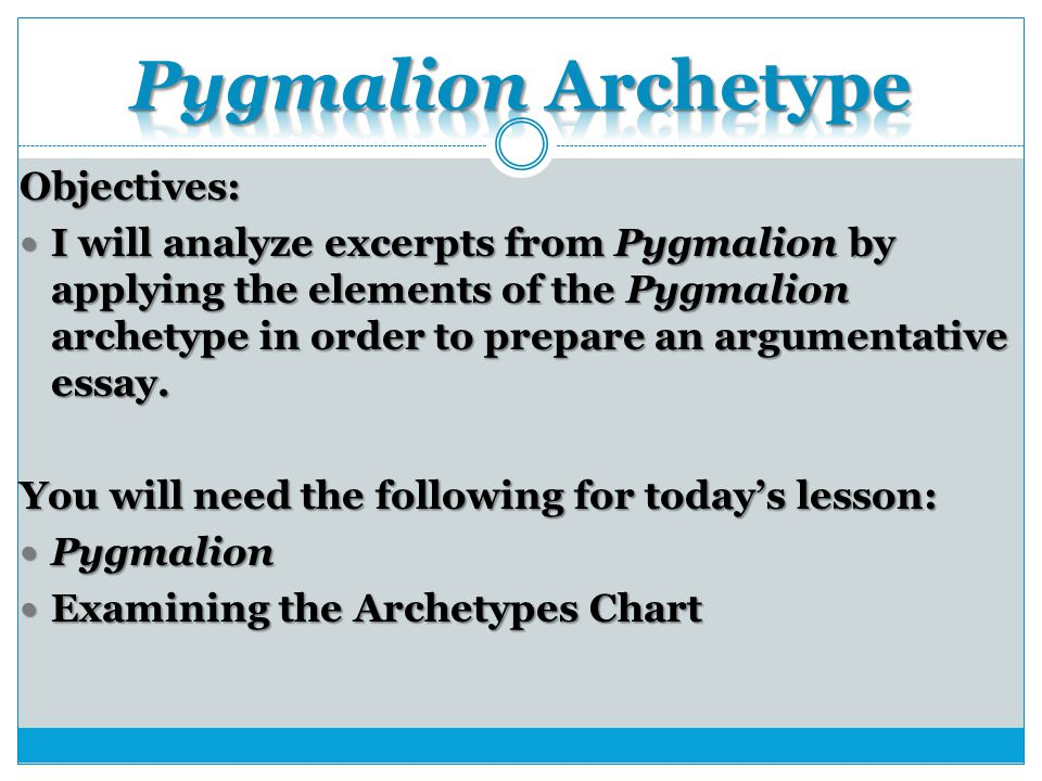 narrative essay on pygmalion