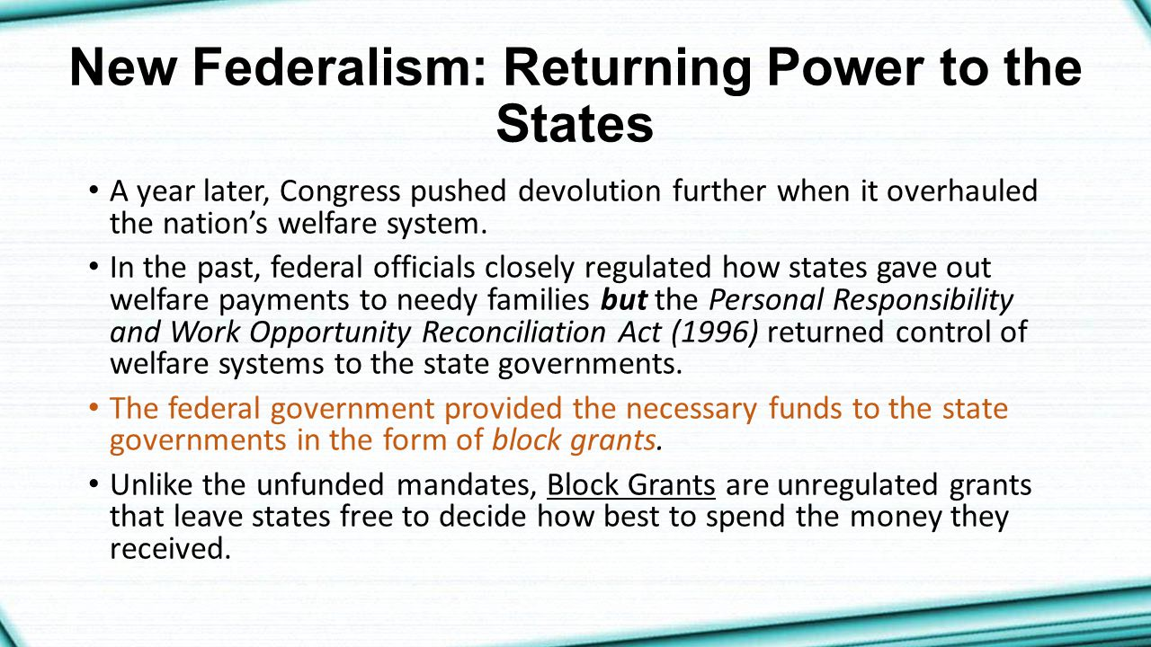 New Federalism: Returning Power to the States