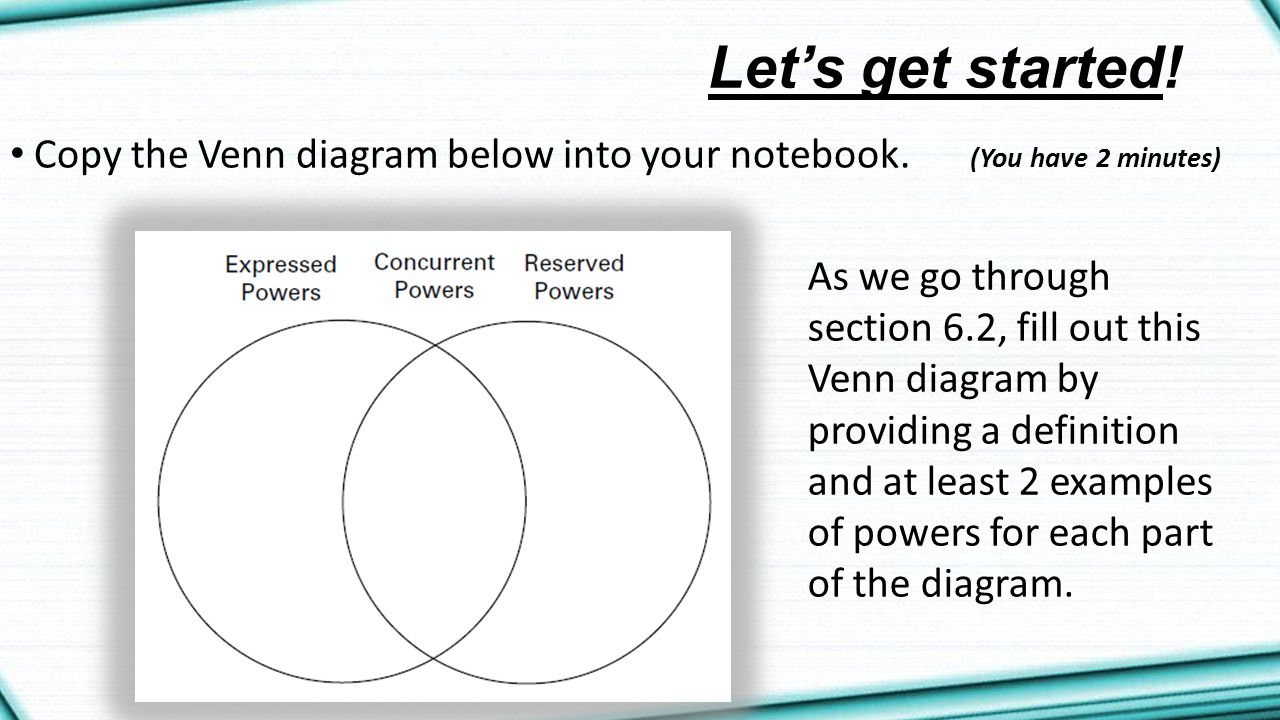 Let's get started! Copy the Venn diagram below into your notebook. (You have 2 minutes)