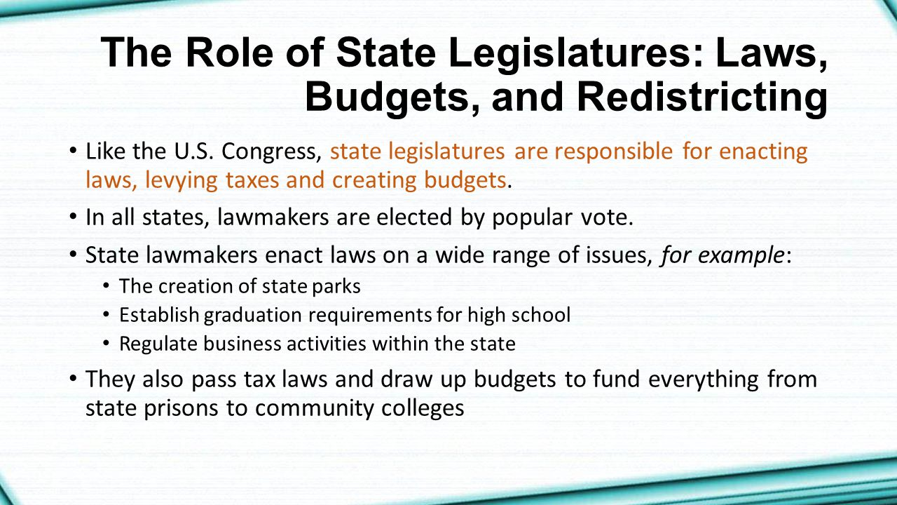 The Role of State Legislatures: Laws, Budgets, and Redistricting