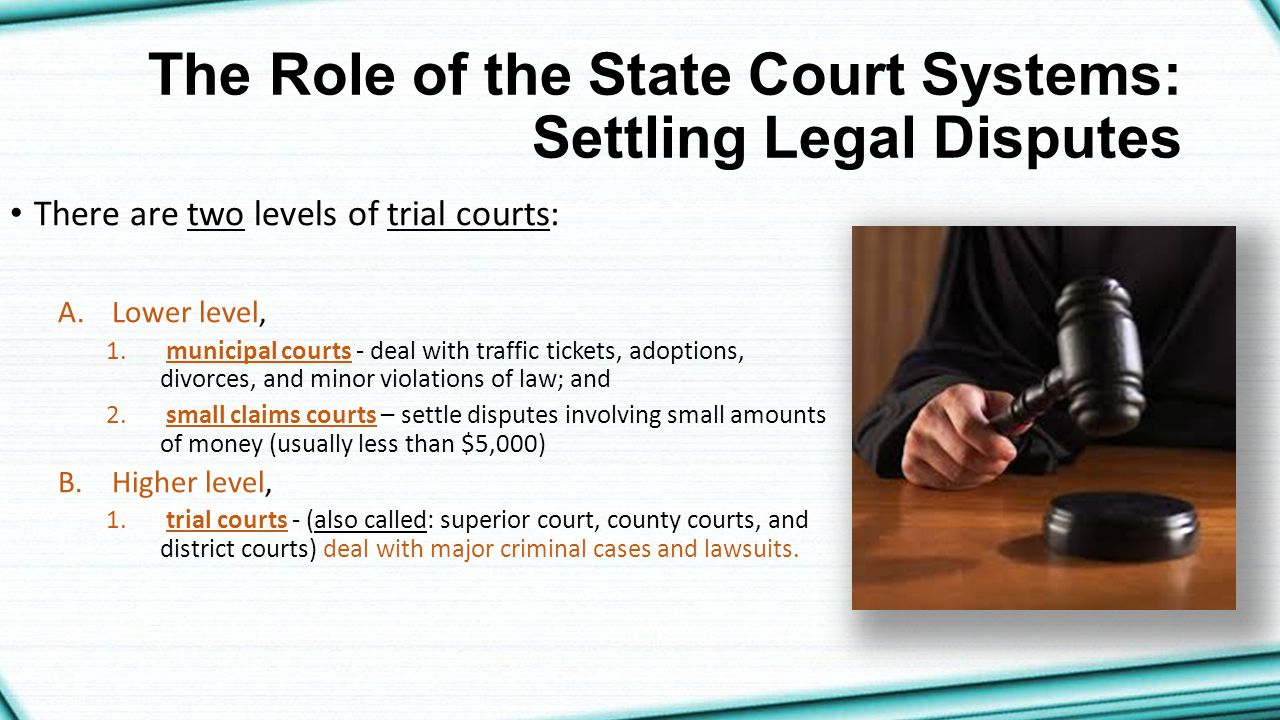The Role of the State Court Systems: Settling Legal Disputes