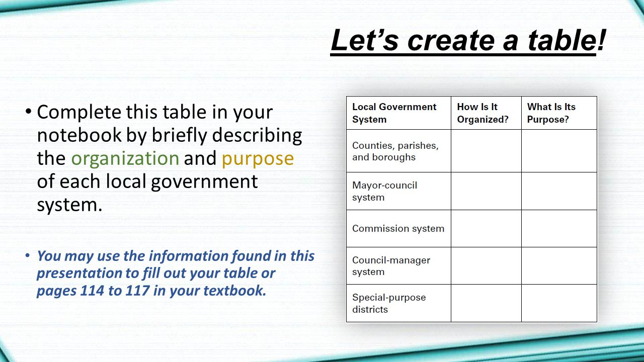 Let's create a table! Complete this table in your notebook by briefly describing the organization and purpose of each local government system.
