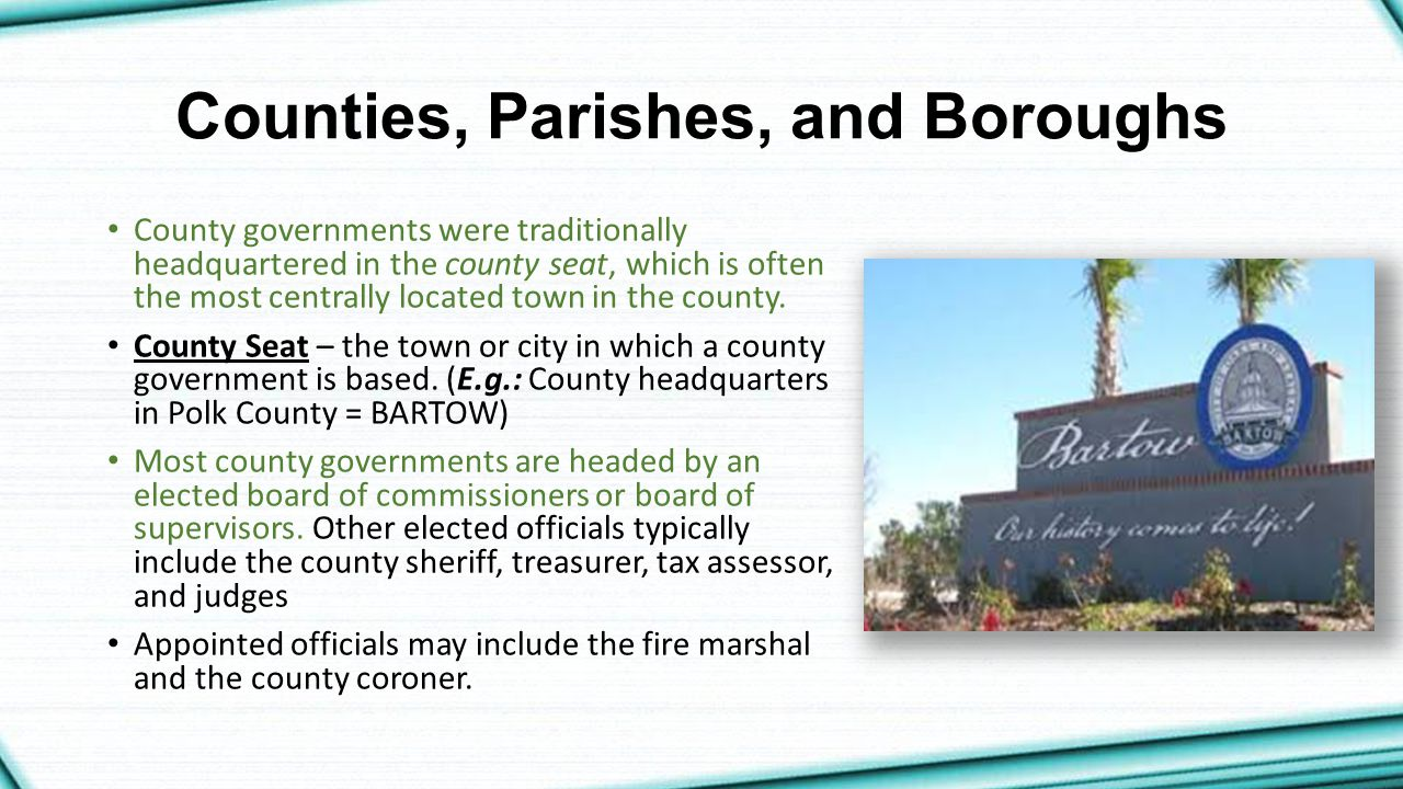 Counties, Parishes, and Boroughs