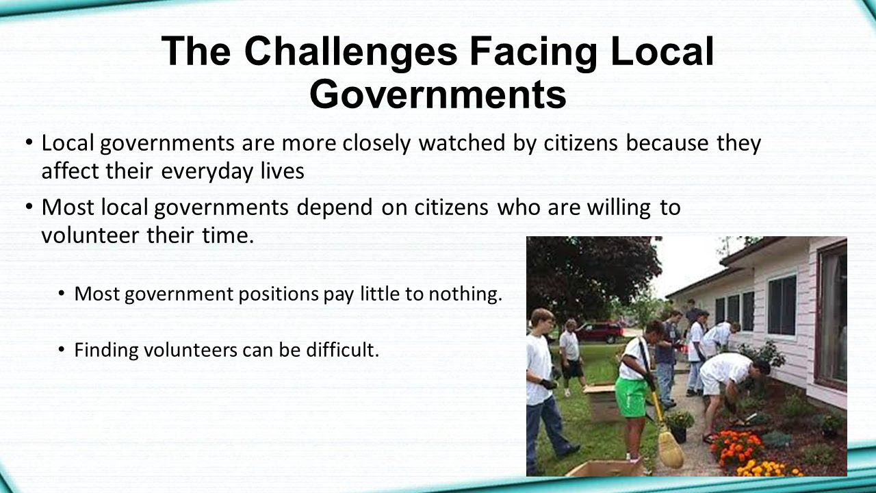 The Challenges Facing Local Governments