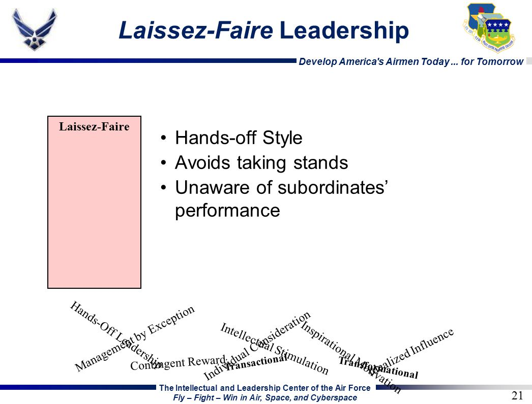 laissez faire style of leadership definition Laissez-faire definition: 1 unwillingness to get involved in or influence other people's activities: 2 if a government is laissez-faire, it does not have many laws and rules that control the buying and selling of goods and services3 an economic theory or plan in which a government does not have many learn more.