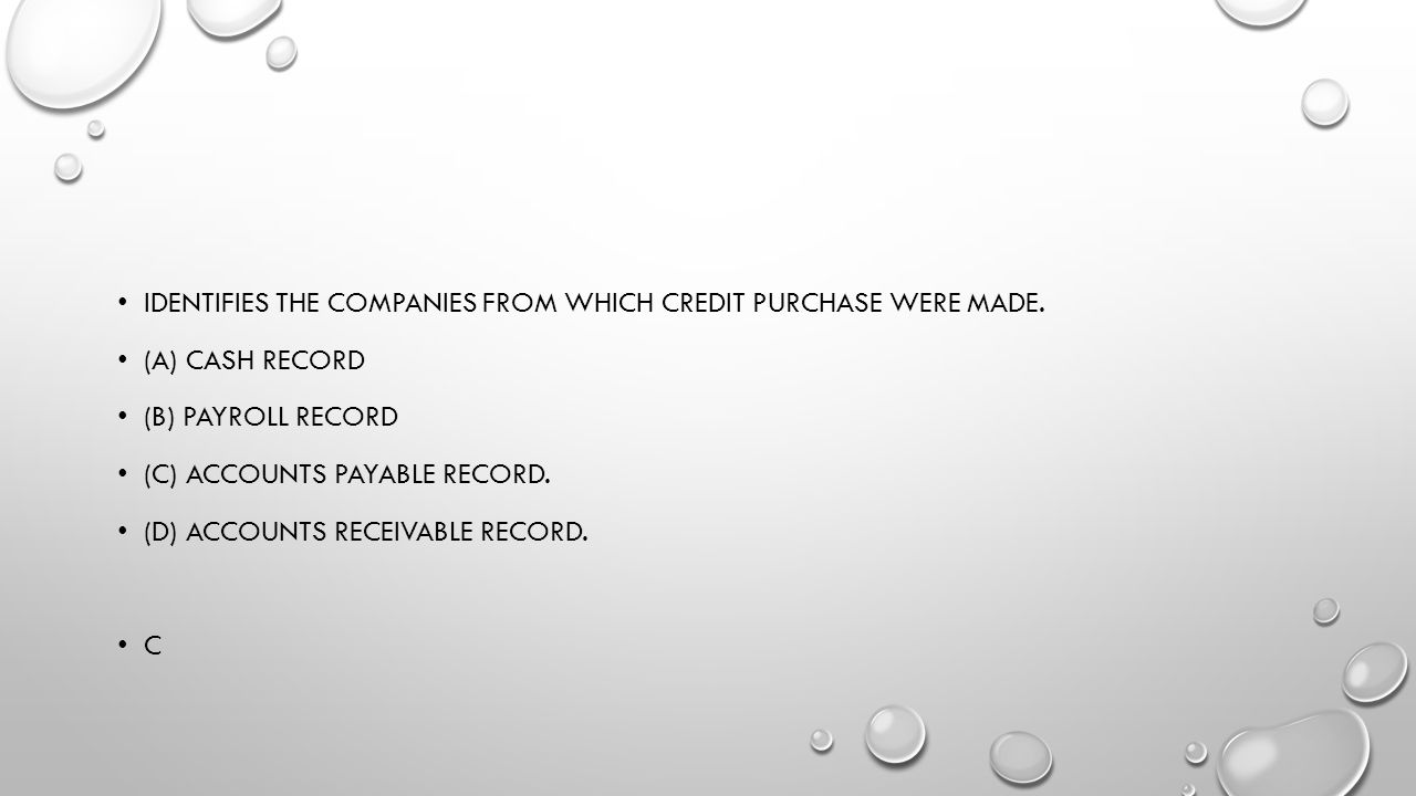 Identifies the companies from which credit purchase were made.