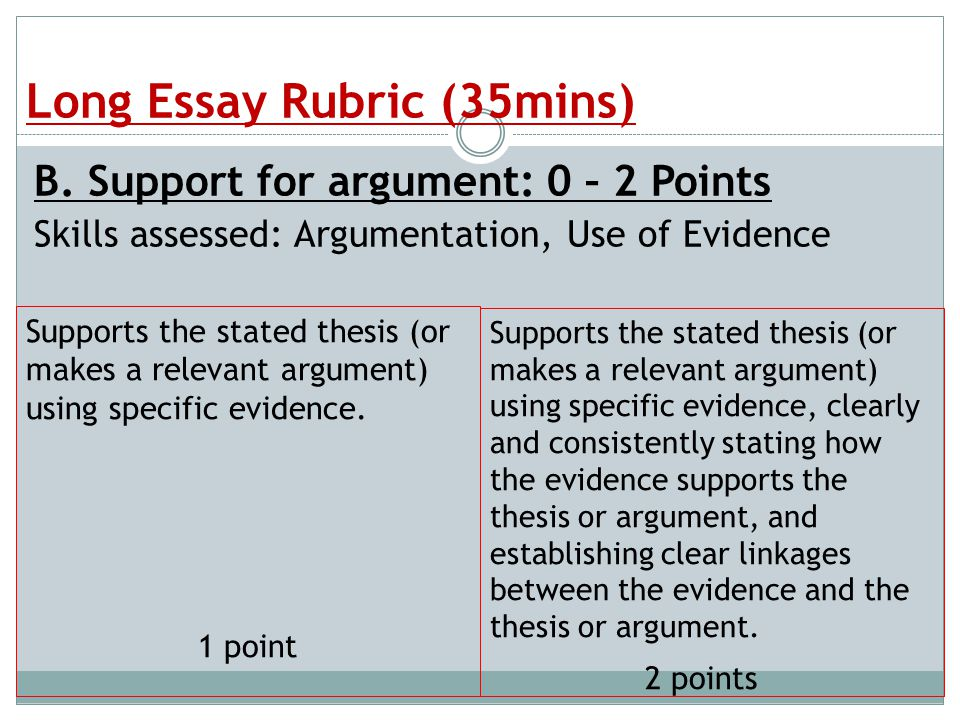 Apush short answer essay rubric