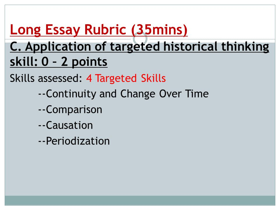 ap biology essay question rubrics Biology biology: transitioning to the question prompt for the ap world history long essay questions (leqs) scored using the updated 2018 ap history rubric.