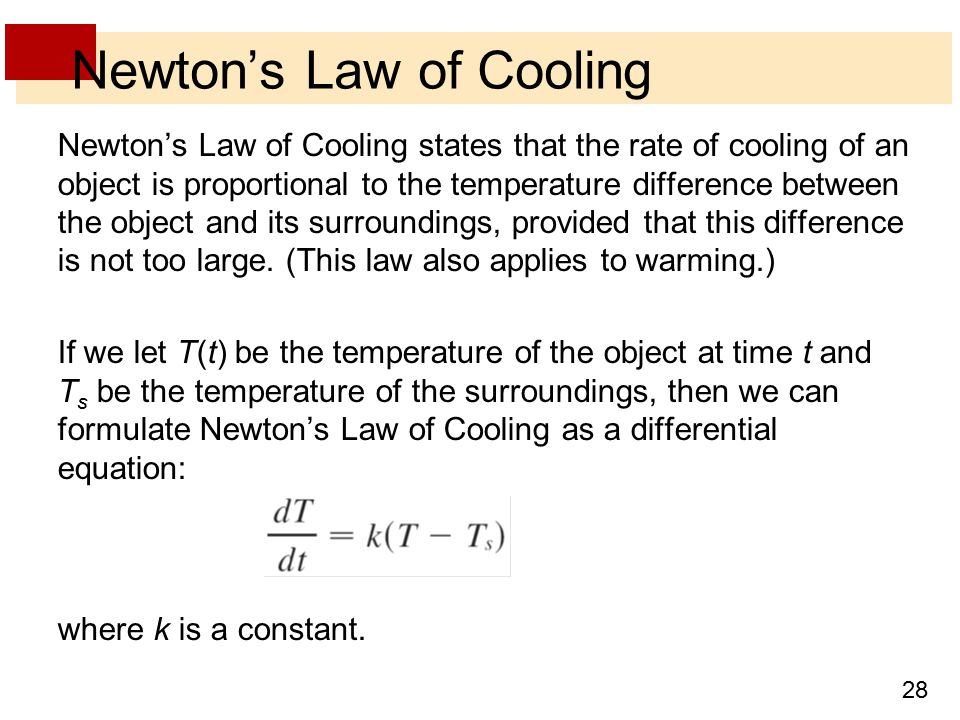 newtons law of cooling
