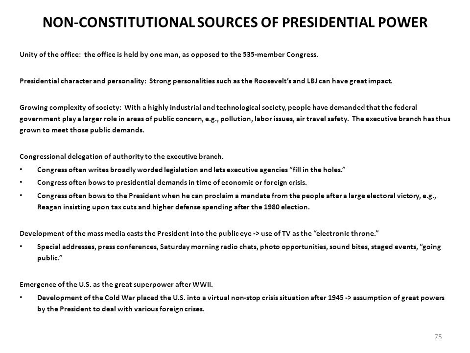 constitutional authority of the president essay The president is head of america's executivecongress heads america's  legislative and the  the powers of the presidency as laid down by the  constitution.