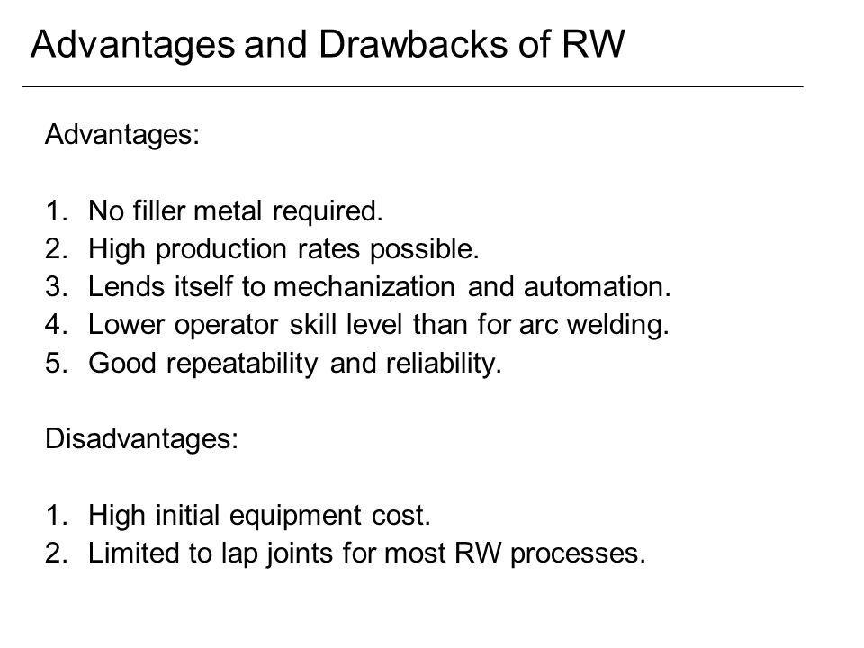 Advantages and Drawbacks of RW