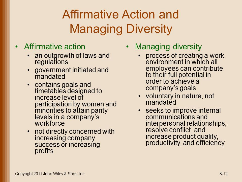 affirmative action rules and regulations Policy it is the policy of the mid-ohio psychological service to take affirmative action in accordance with all applicable federal, state, and county laws, rules, regulations.