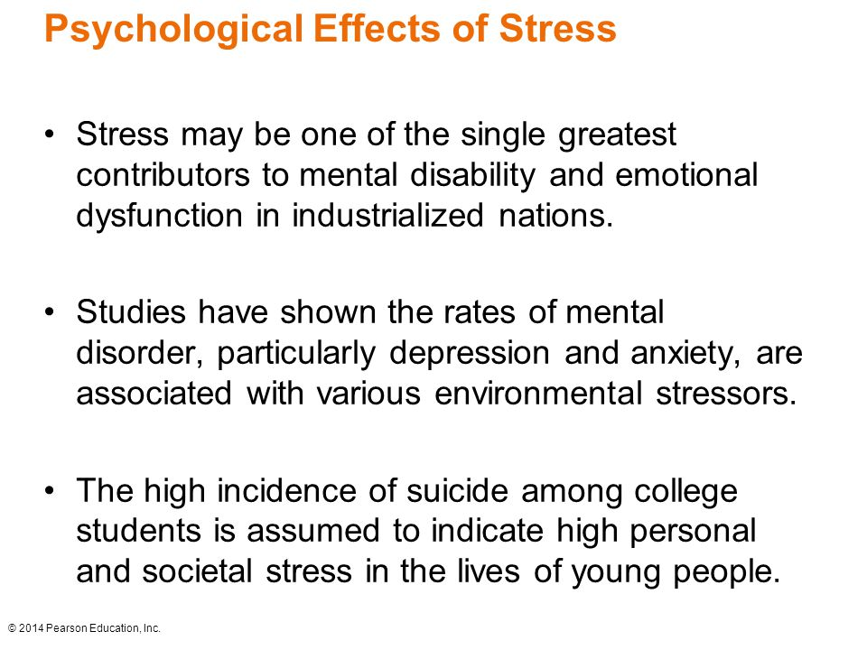 the effects of stress on ones emotional and behavioral state When someone is under chronic stress, it begins to negatively affect his or her physical and mental health the body's stress response was not made to be continuously engaged many people .