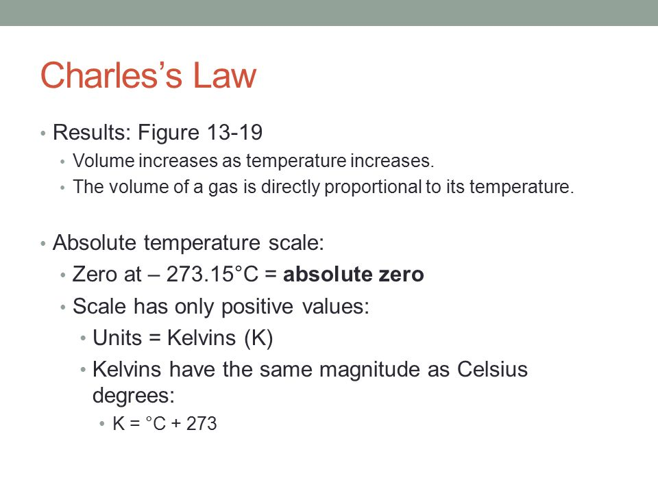 charles law and absolute zero Date of experiment: november 4, 2010 date submitted: november 11, 2010 introduction: as per charles' law, there is a linear relationship between the temperature and.
