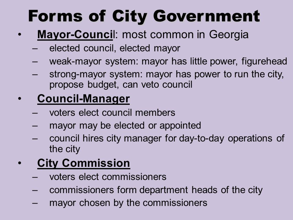 city government system The oldest city government form is the mayor-council form, with a central executive (mayor, manager) and a representative legislative bodythe mayor.