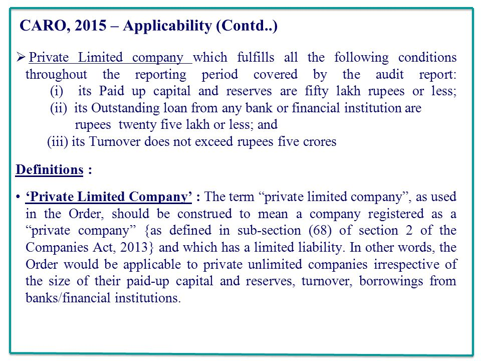 31 CARO ...  Private Company Audit Report