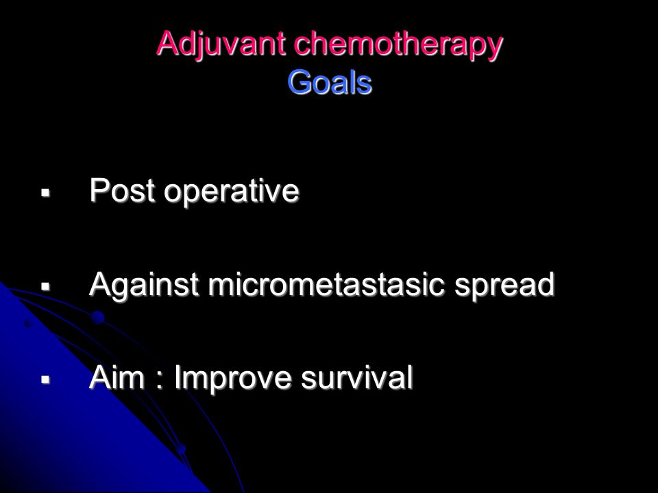 Adjuvant chemotherapy Goals