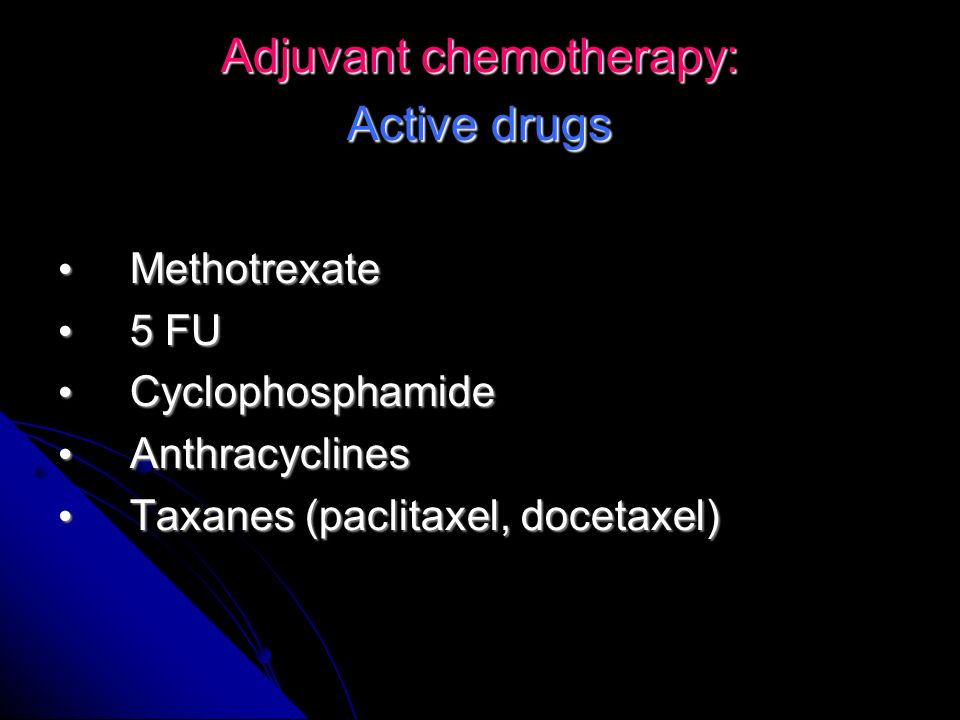 Adjuvant chemotherapy: Active drugs