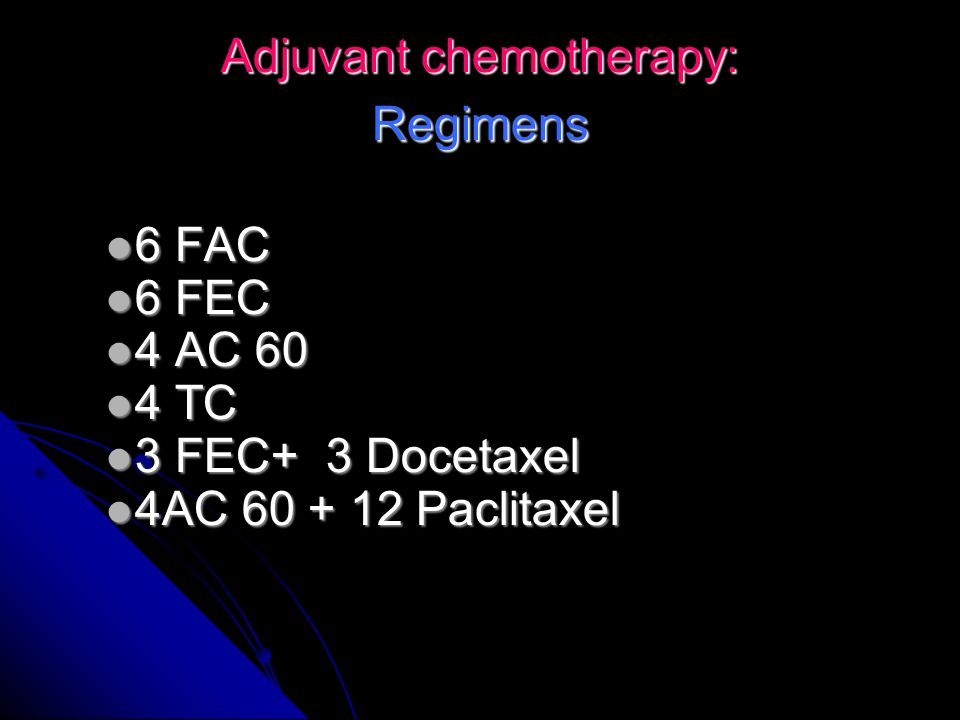 Adjuvant chemotherapy: Regimens