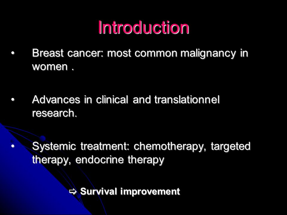 Introduction Breast cancer: most common malignancy in women .
