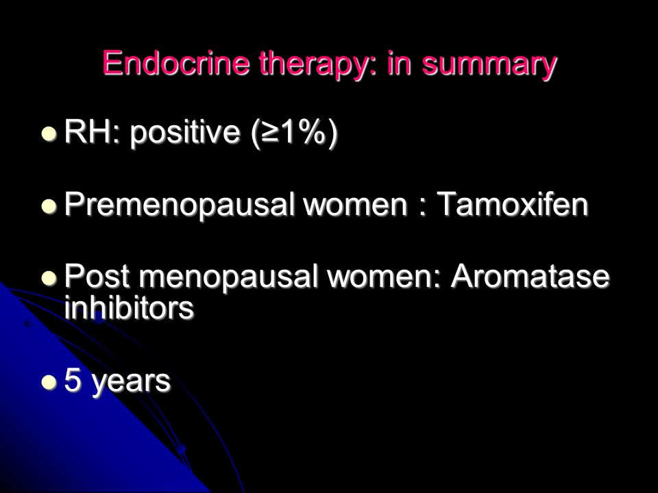 Endocrine therapy: in summary