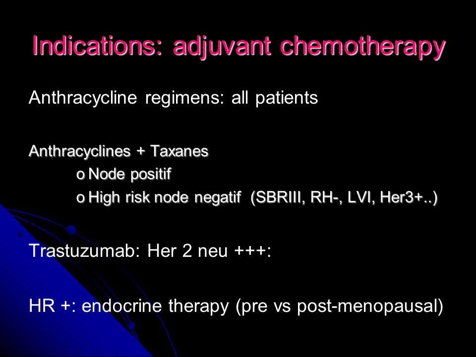 Indications: adjuvant chemotherapy