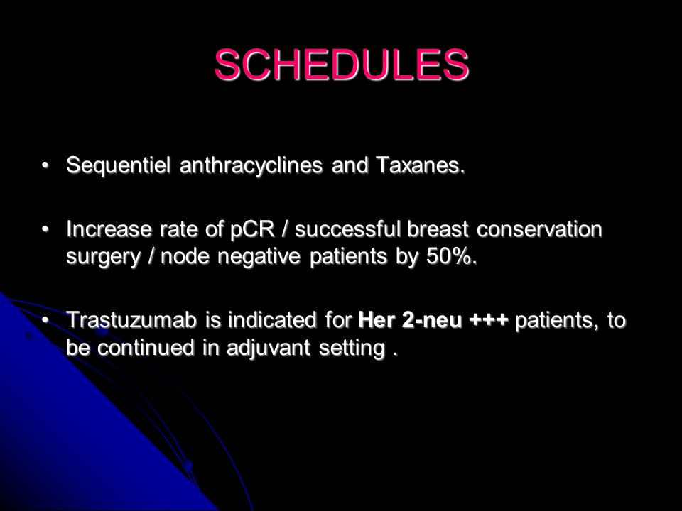 SCHEDULES Sequentiel anthracyclines and Taxanes.