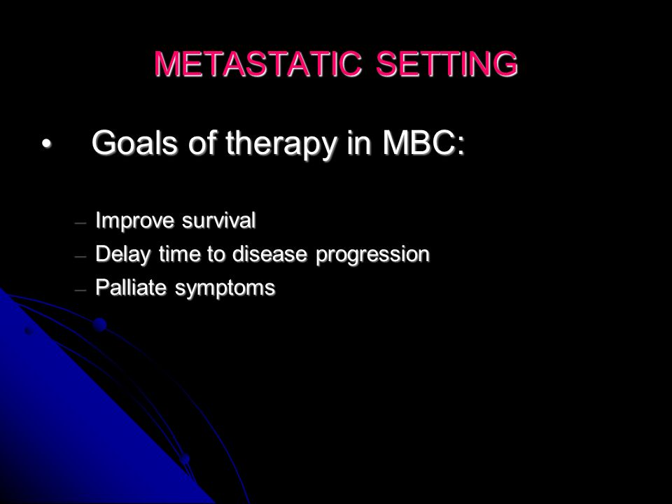 Goals of therapy in MBC: