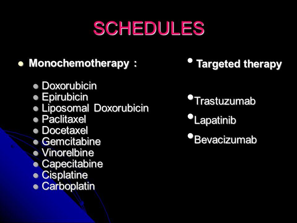 SCHEDULES Monochemotherapy : Doxorubicin Epirubicin Trastuzumab