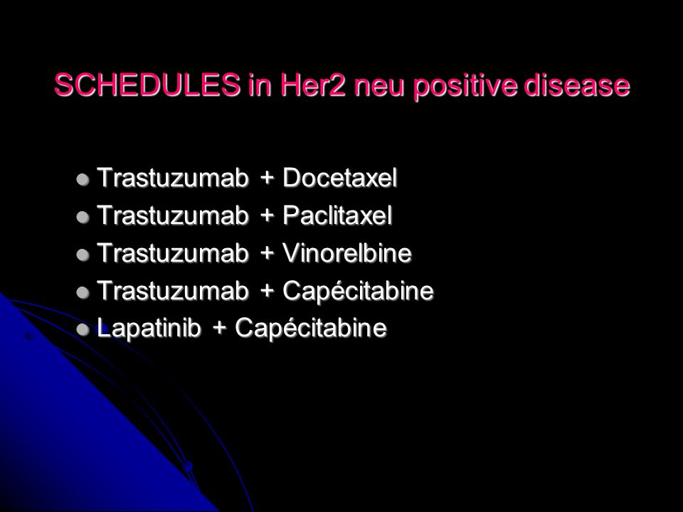 SCHEDULES in Her2 neu positive disease