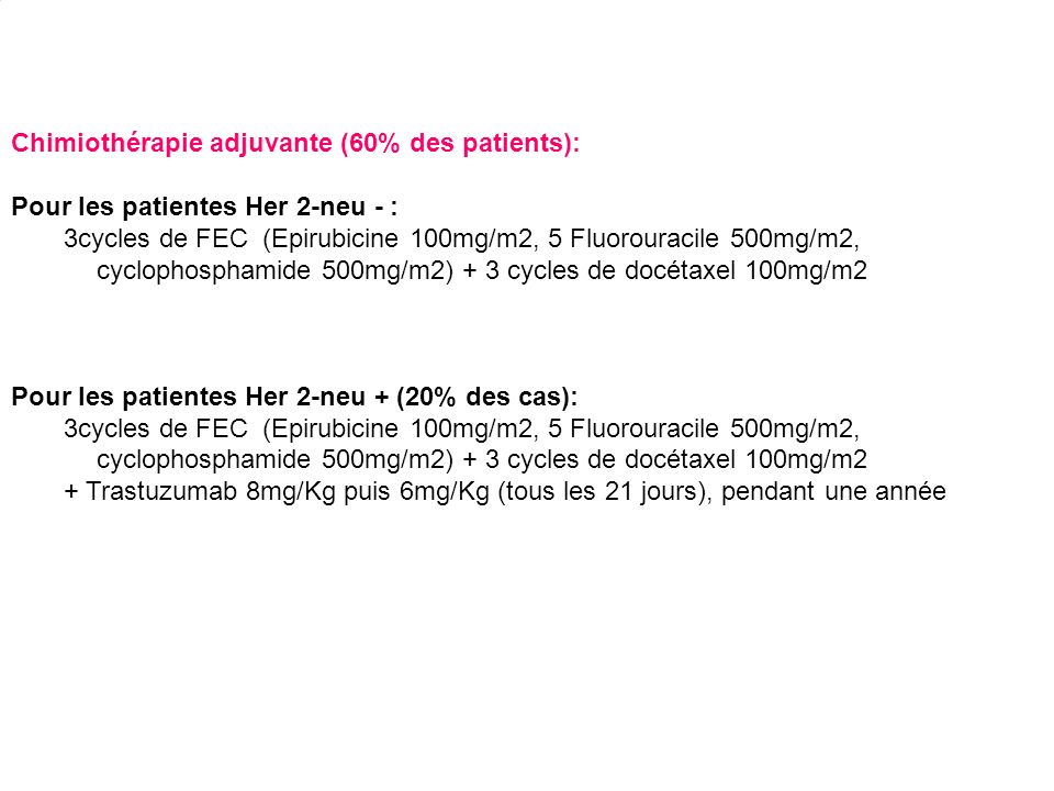 Chimiothérapie adjuvante (60% des patients):