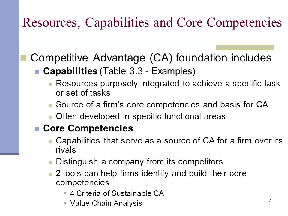 sustainable competitive advantage through core competencies Sustainable competitive advantage achieving sustainable strategic competitive advantage firms achieve strategic competitiveness and earn above-average returns when their core competencies are effectively.