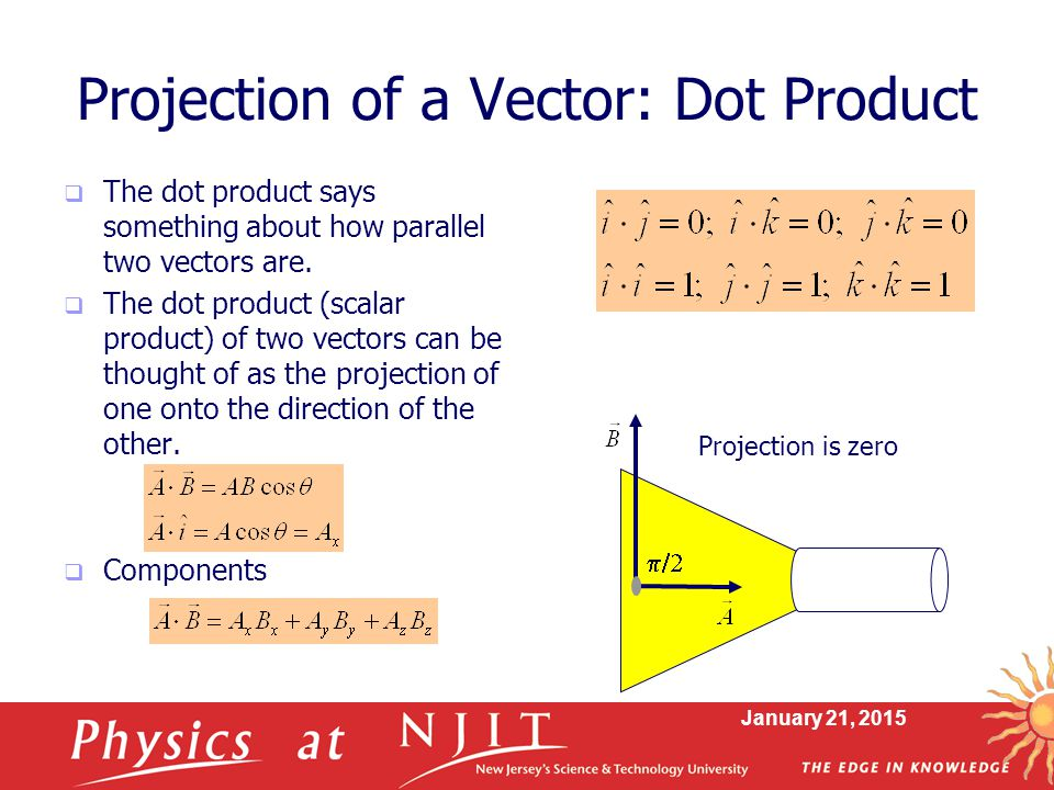 dot product projection In this article we investigate students' understanding of dot product as a  projection in the first part, we compare students' performance in three.